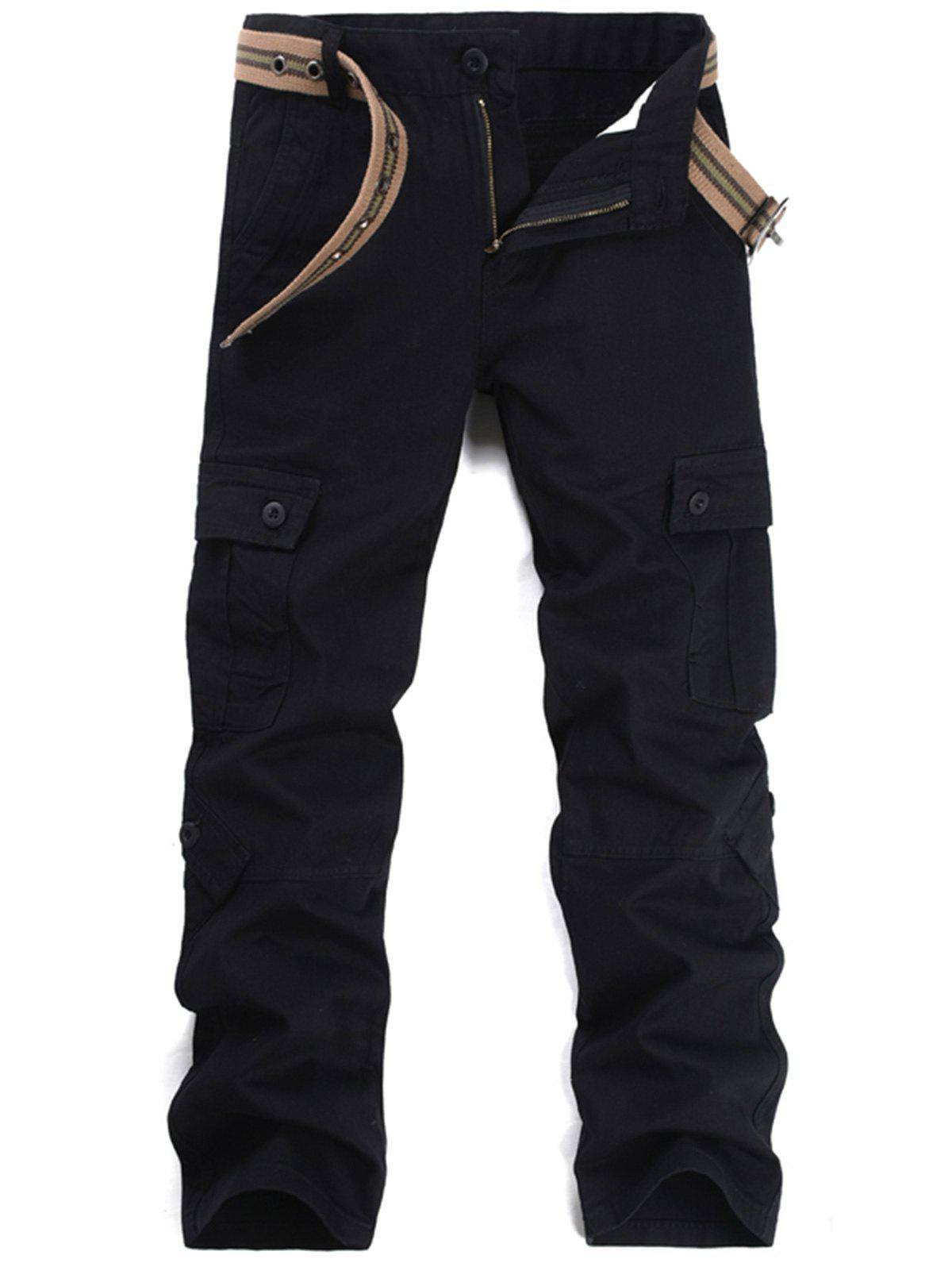 Pockets Straight Leg Cargo Pants - BLACK 38