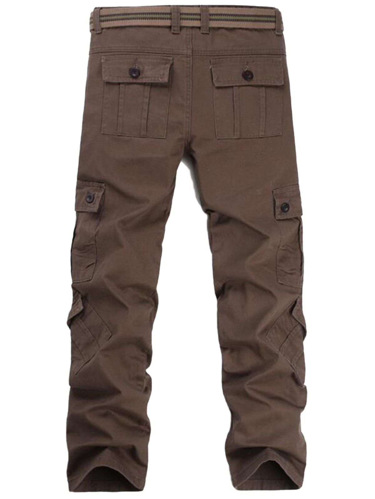 Pockets Straight Leg Cargo Pants - COFFEE 36