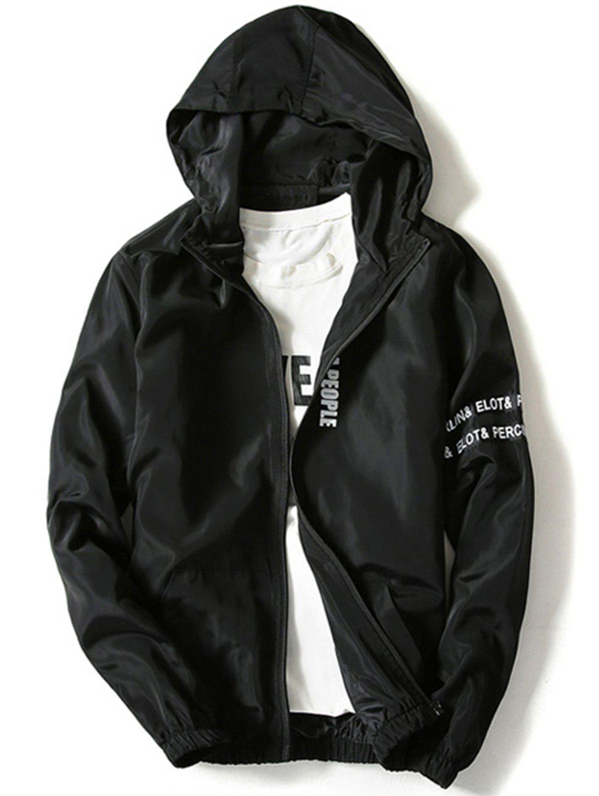 Graphic Zip Up Lightweight Jacket - BLACK L
