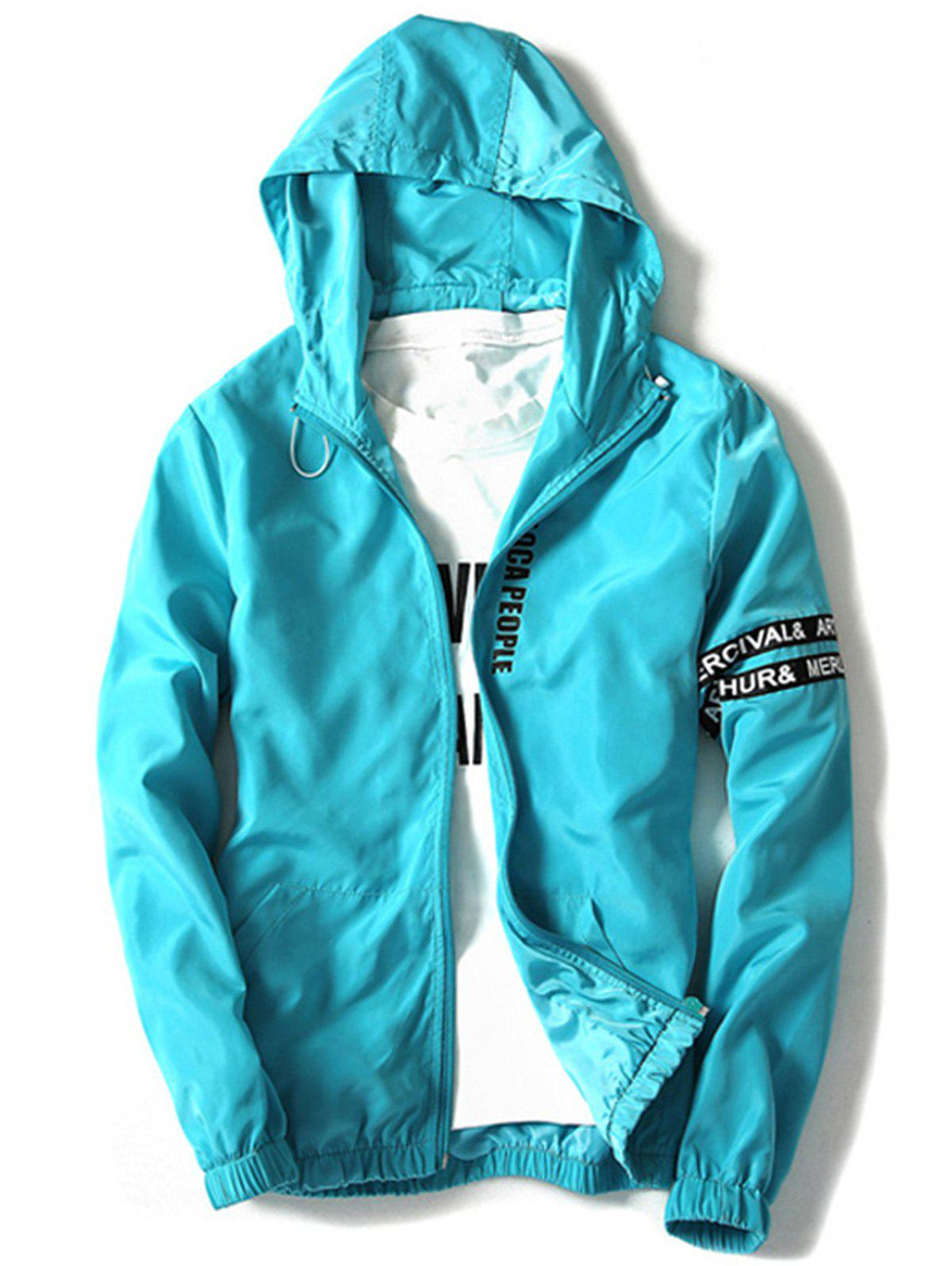 Graphic Zip Up Lightweight Jacket - WINDSOR BLUE L