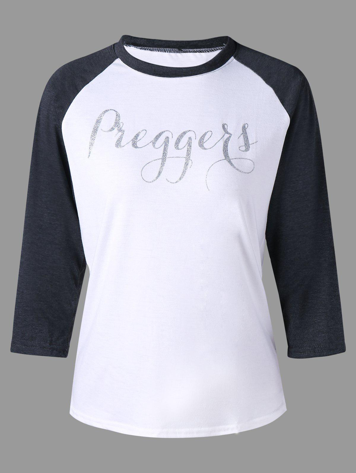 Graphic Print Raglan Sleeve Tee - WHITE 2XL