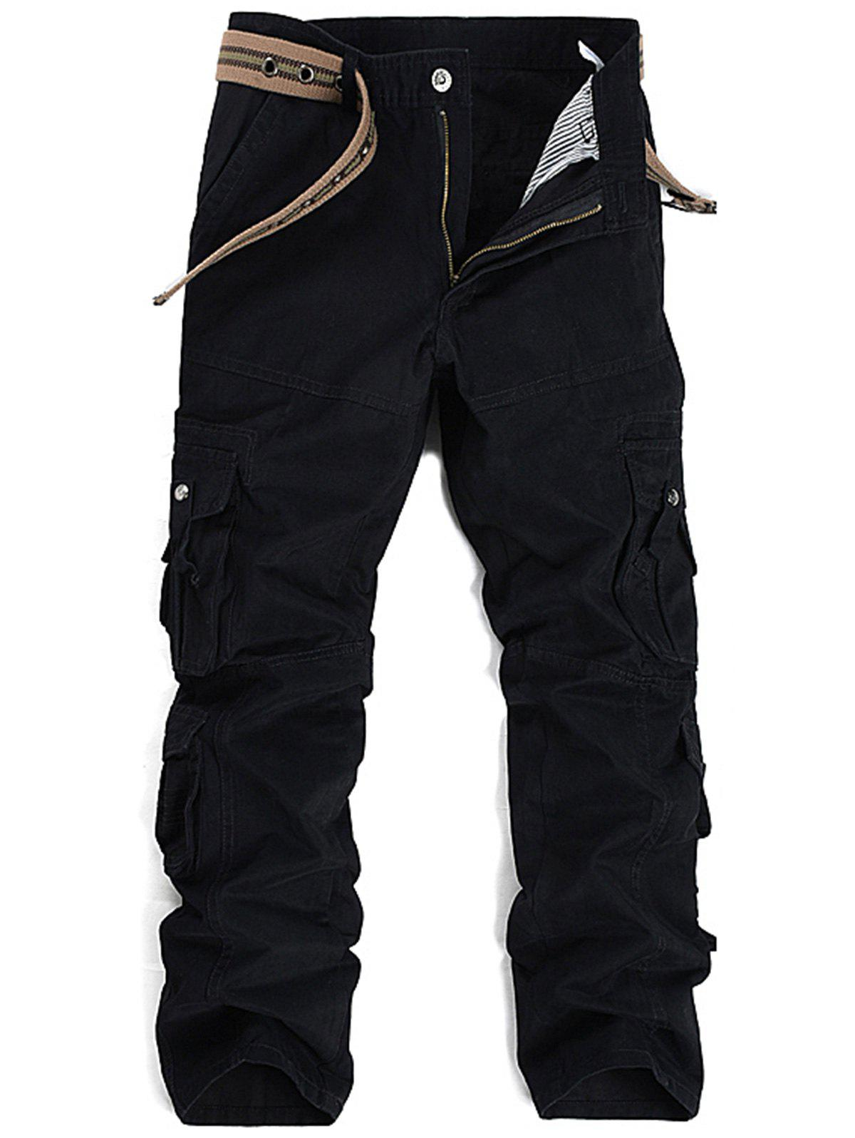 Pleat Pockets Straight Leg Cargo Pants - BLACK 32
