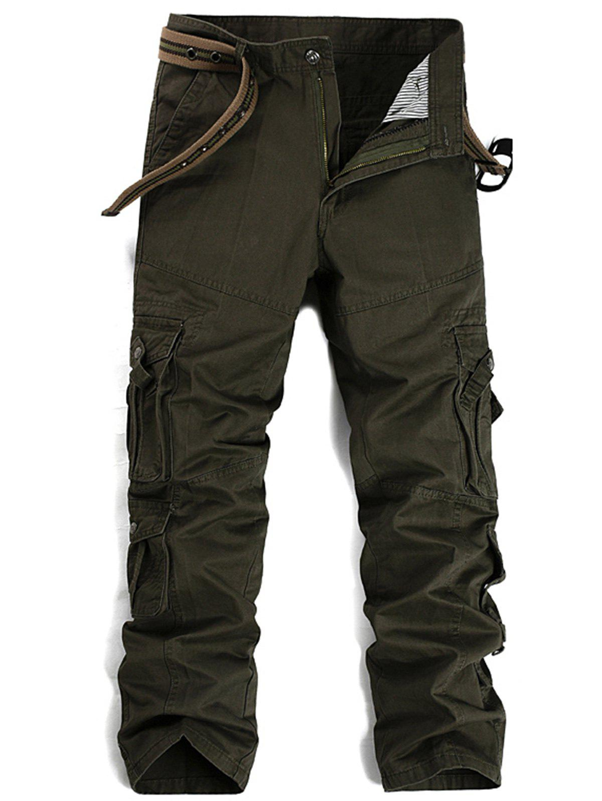 Pleat Pockets Straight Leg Cargo Pants - ARMY GREEN 32