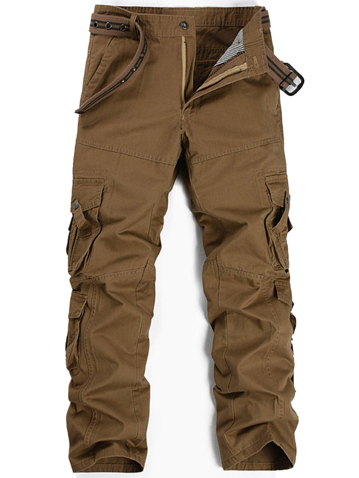Pleat Pockets Straight Leg Cargo Pants - KHAKI 34