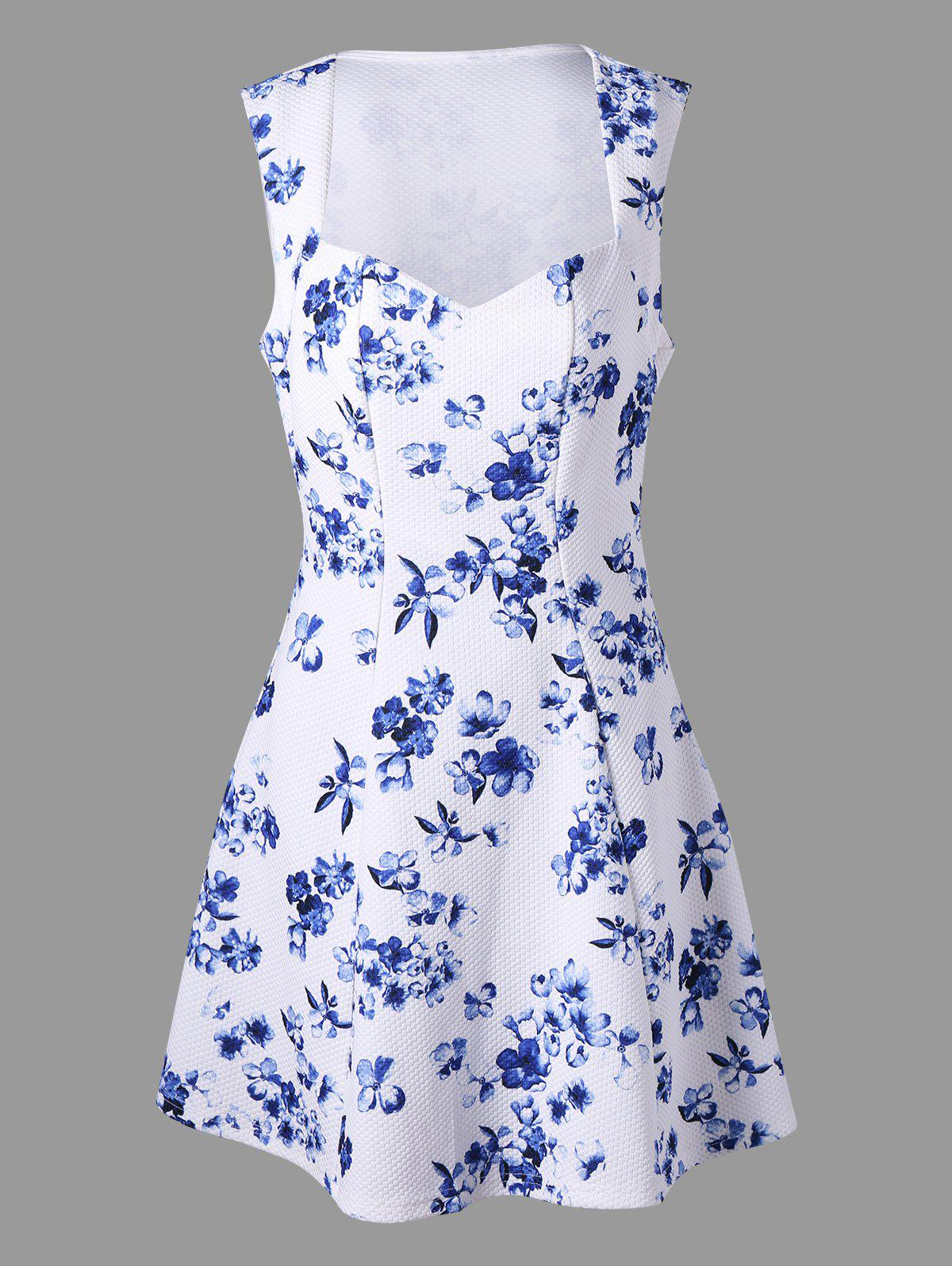 Floral Print Sleeveless Skater Dress - WHITE L