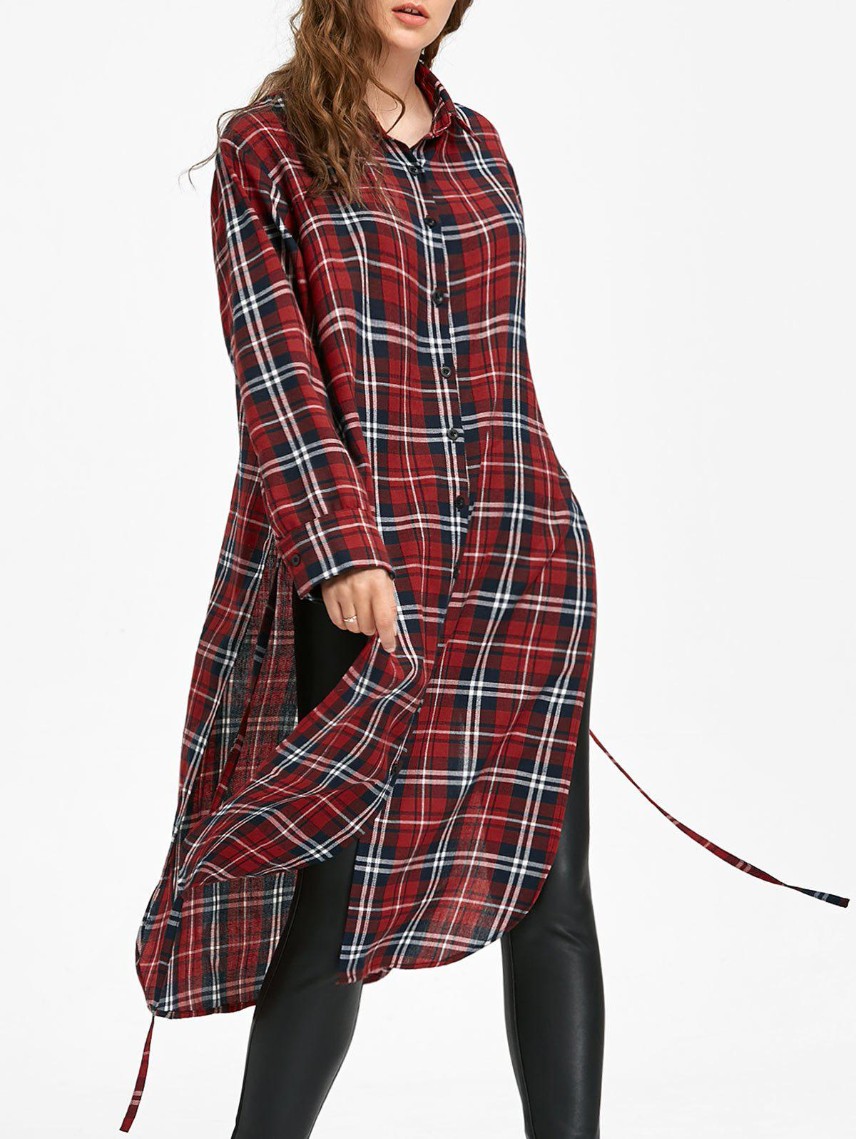 Long Sleeve Button Down Checked Dress with Tie contrast pocket long sleeve tie dye design button down shirt