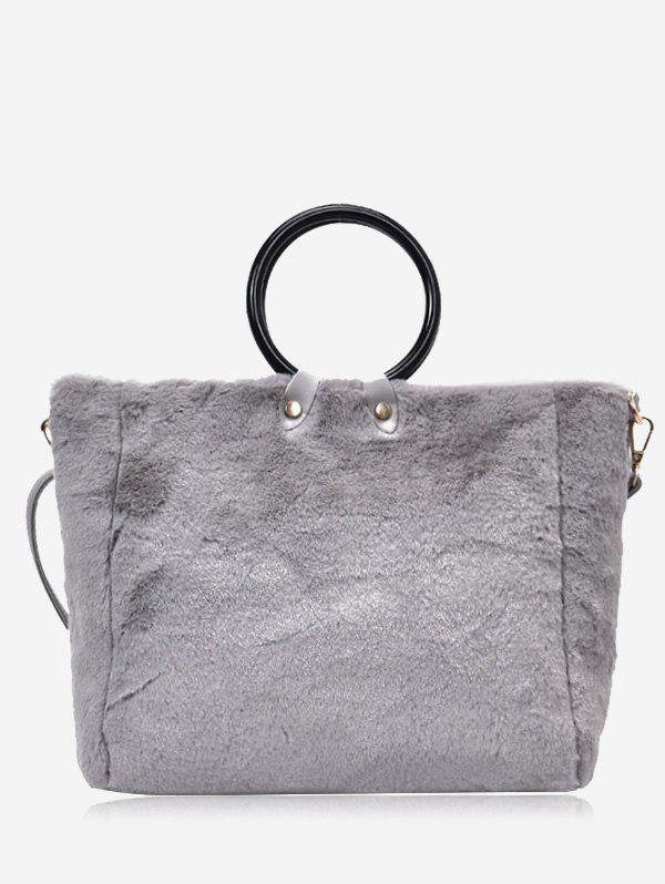 Faux Fur Round Handle Handbag With Strap - GRAY
