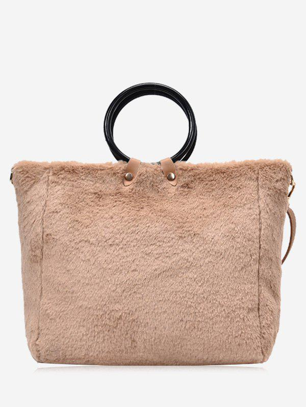 Faux Fur Round Handle Handbag With Strap - KHAKI