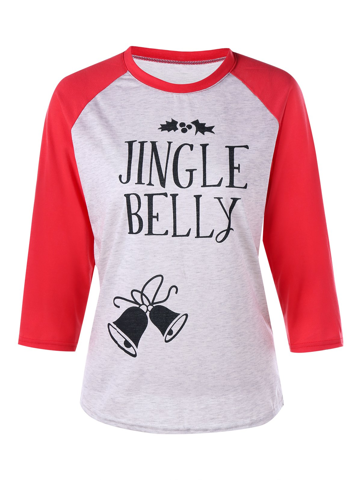 Christmas Jingle Belly Print Raglan Sleeve Tee - RED M