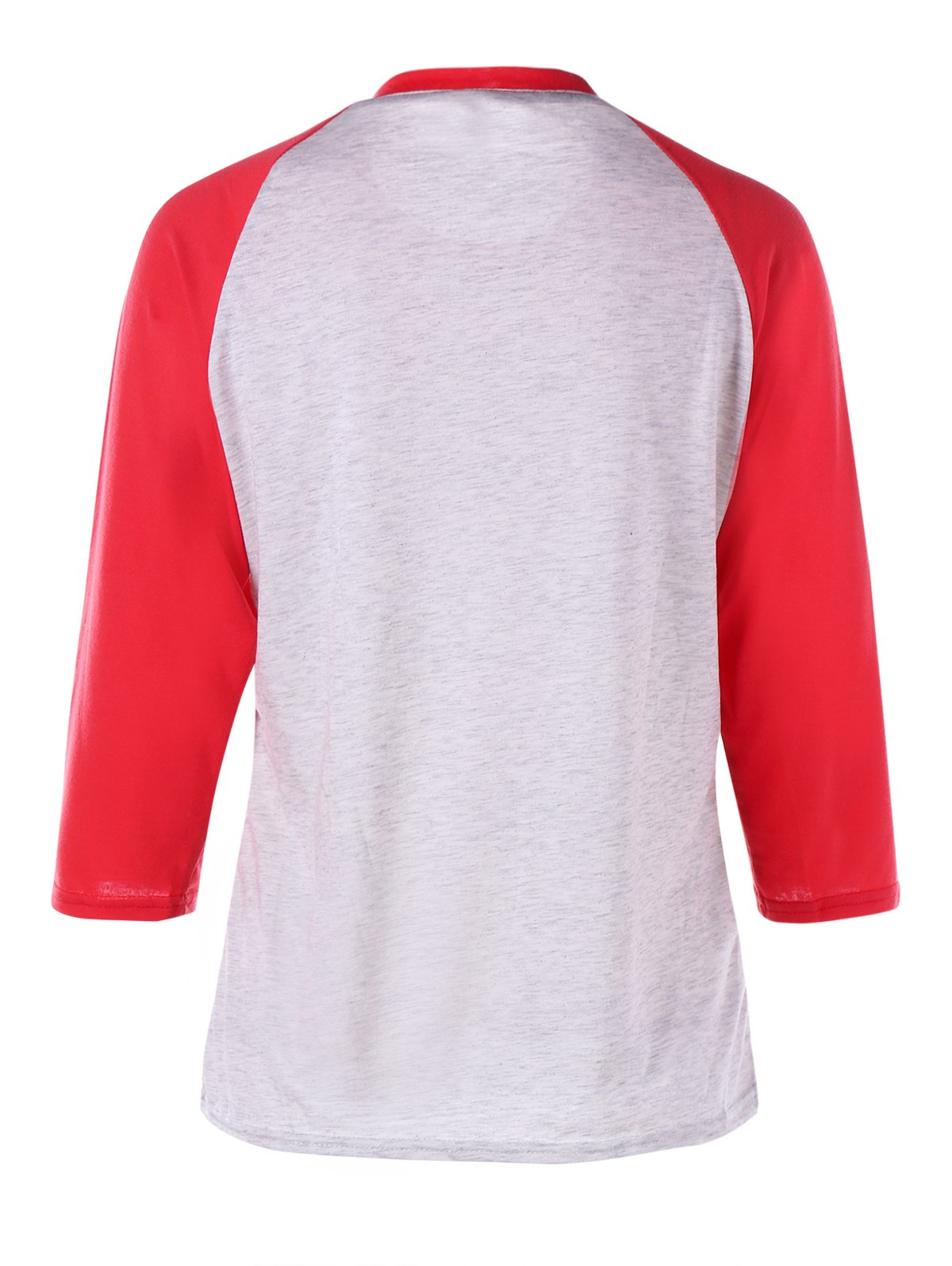 Christmas Jingle Belly Print Raglan Sleeve Tee - RED 2XL
