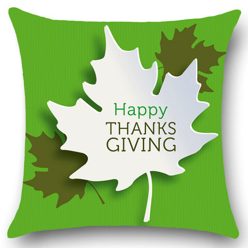 Thanks Giving Maple Leaves Print Square Pillow Case - GREEN W18 INCH * L18 INCH