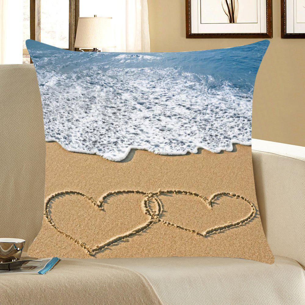 Housse d'oreiller imprimée Love Beach Sea Wave - coloré W18 INCH * L18 INCH