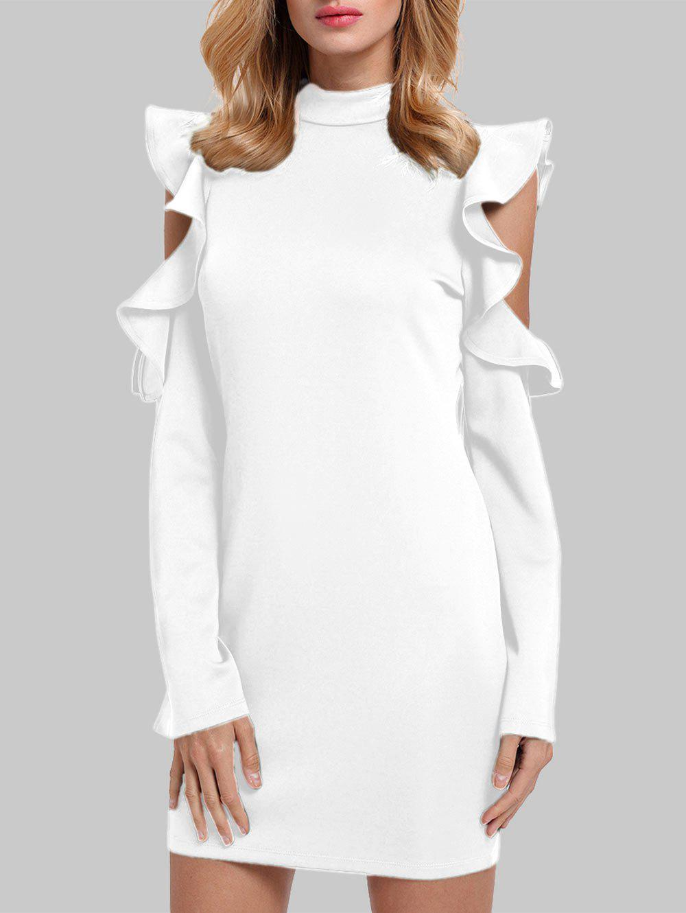 Mock Neck Ruffles Cut Out Gaine Robe - Blanc M