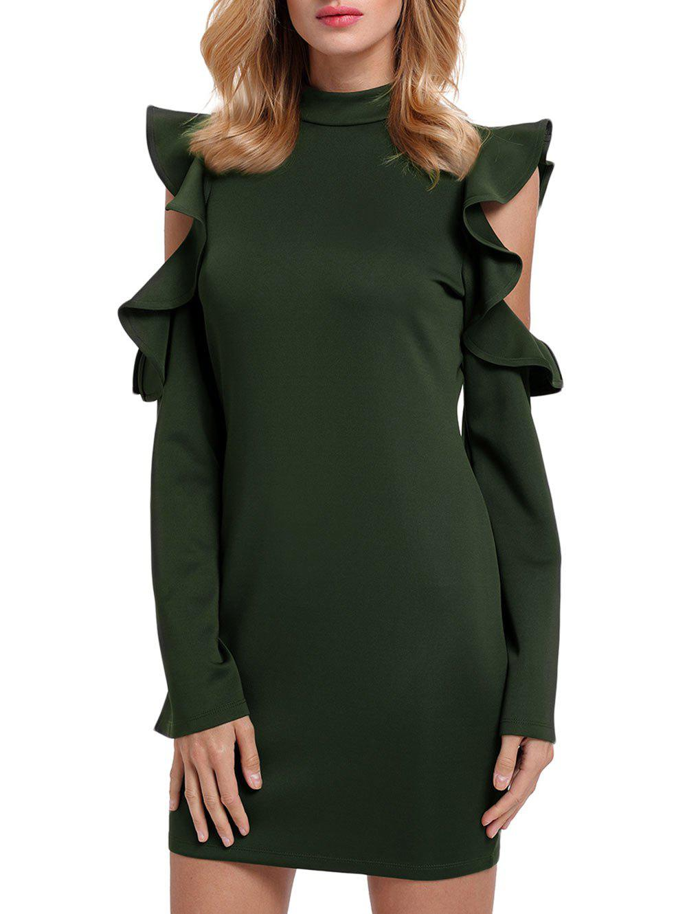 Mock Neck Ruffles Cut Out Sheath Dress - GREEN M