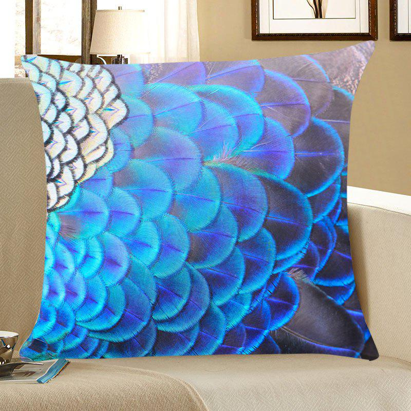 Peacock Feathers Print Square Throw Pillow Case - BLUE W18 INCH * L18 INCH