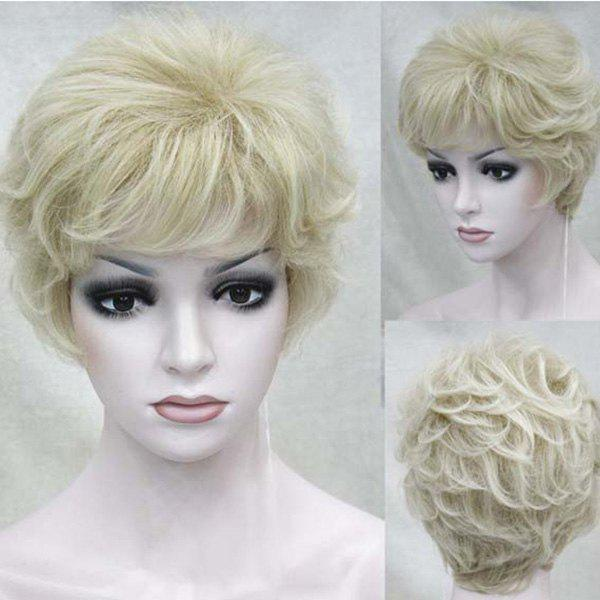 Short Side Bang Layered Fluffy Slightly Curly Hair Hair Wig - Or vénitien