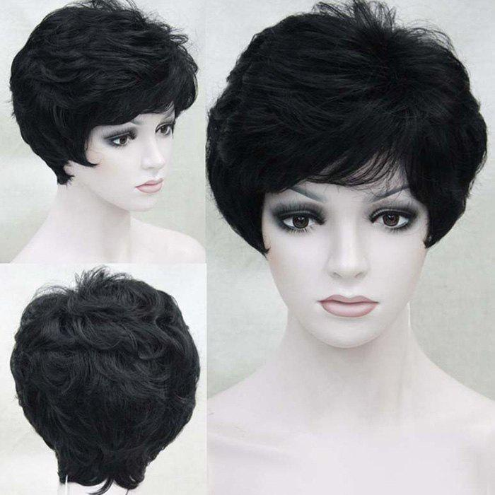 Short Side Bang Layered Shaggy Slightly Curled Human Hair Wig - BLACK