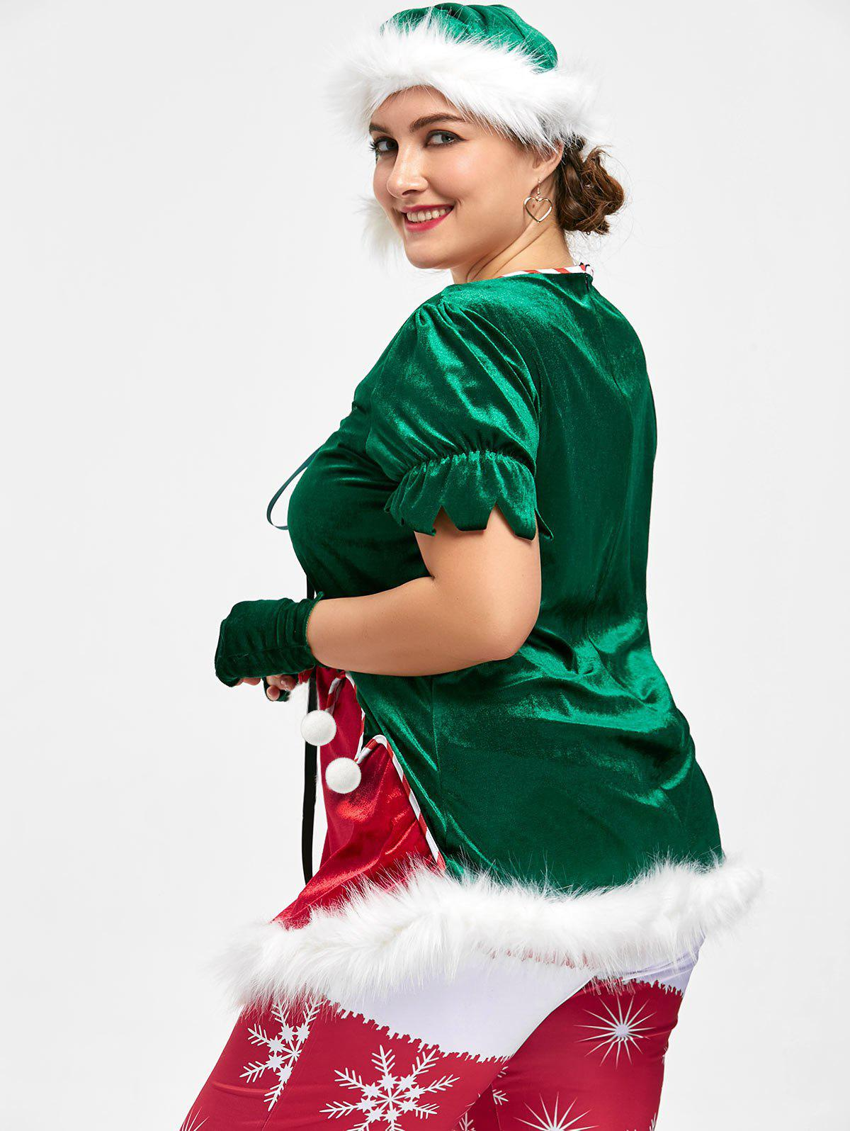 2018 Christmas Plus Size Top with Santa Claus hat RED ...
