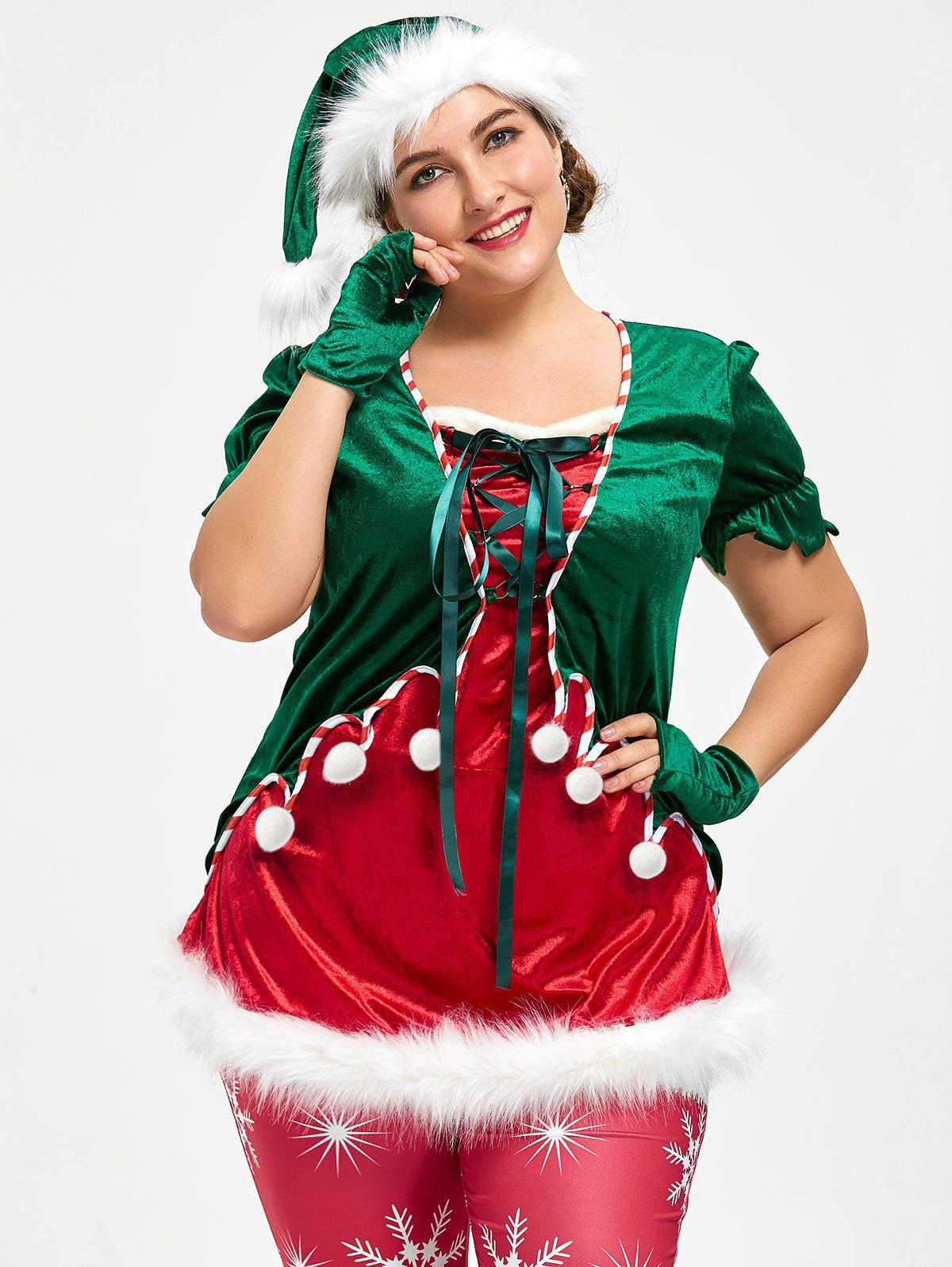 Christmas Plus Size Top with Santa Claus hat plus tassel embellished floral longline kimono