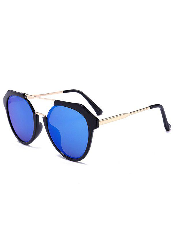 Metal Full Frame Hollow Out Crossbar Sunglasses - LIGHT BLUE