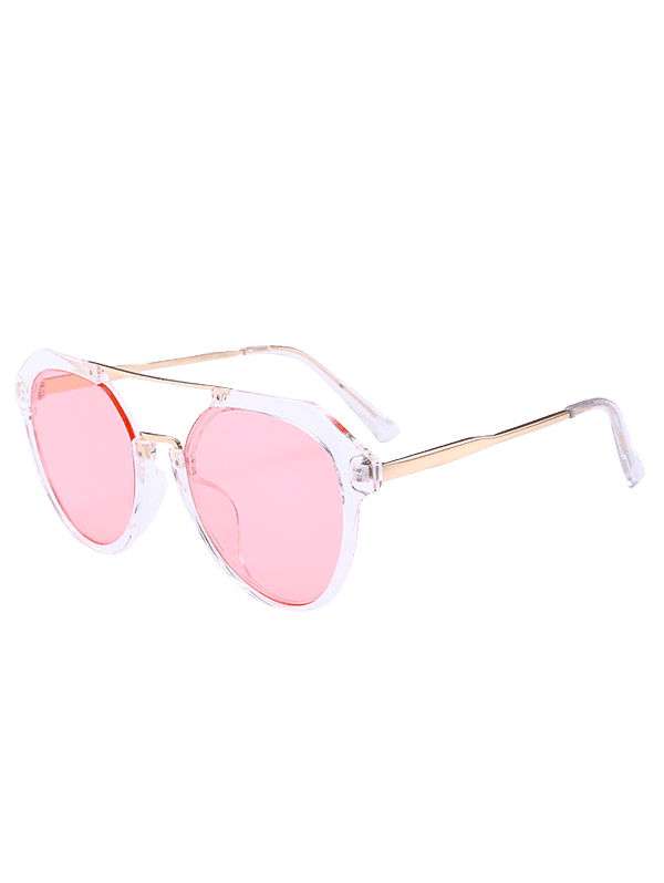 Metal Full Frame Hollow Out Crossbar Sunglasses - LIGHT PINK