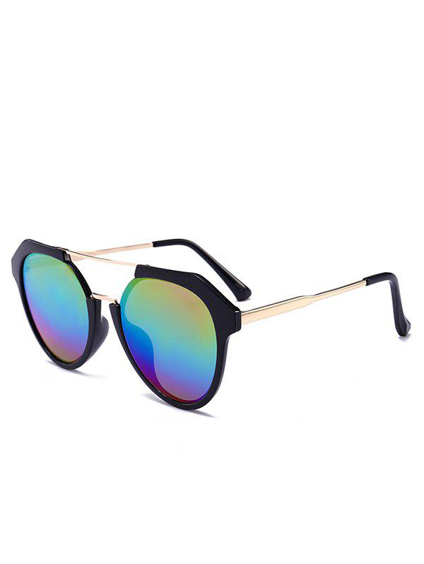 Metal Full Frame Hollow Out Crossbar Sunglasses - COLOR