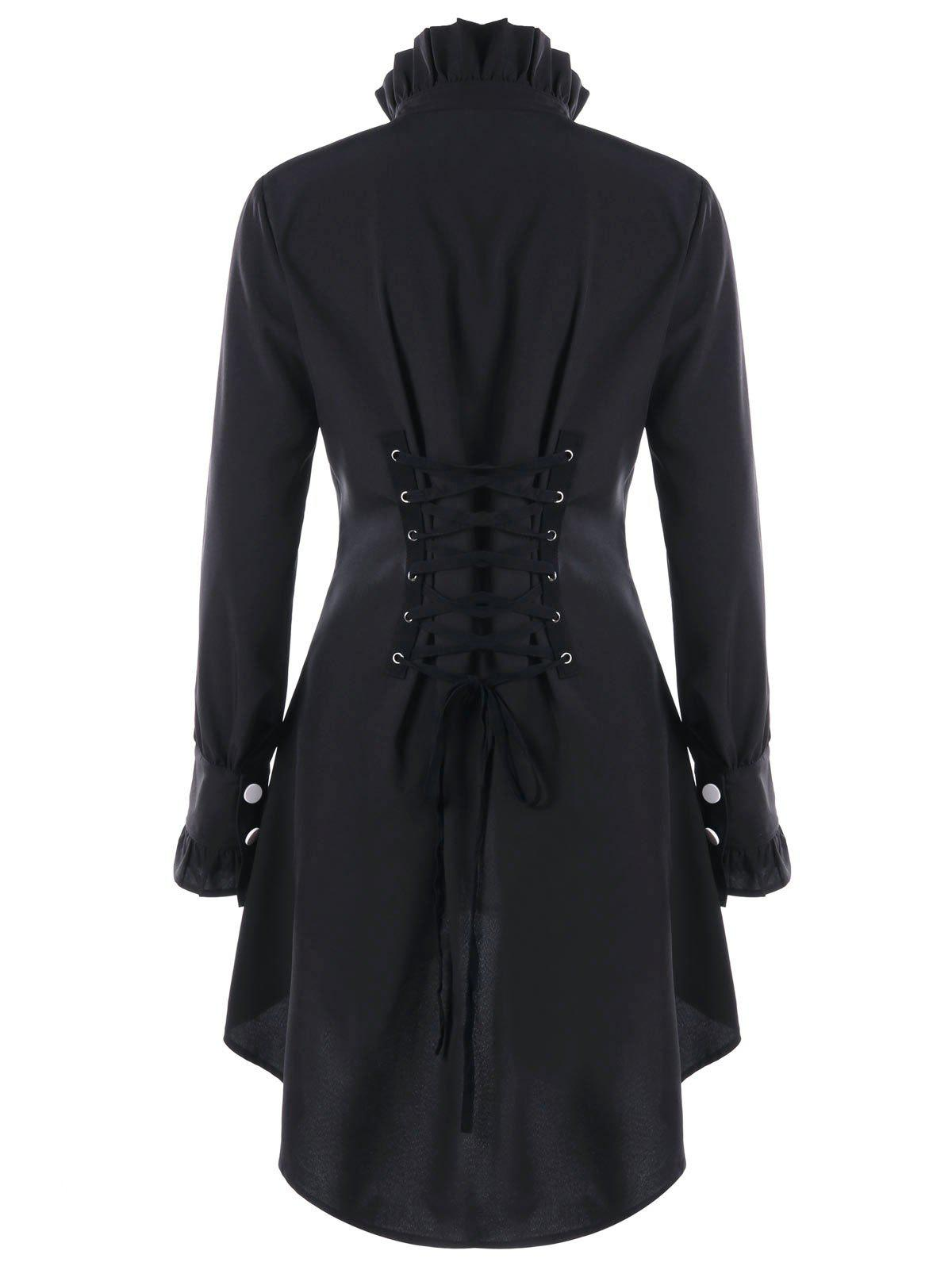 Ruffle Collar Lace Up Dip Hem Manteau - Noir L