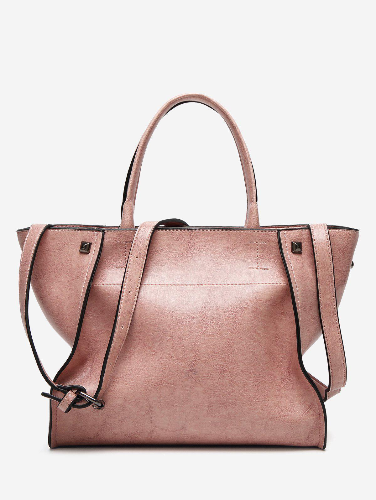 Sac à bandoulière Faux Leather Rivets - ROSE PÂLE
