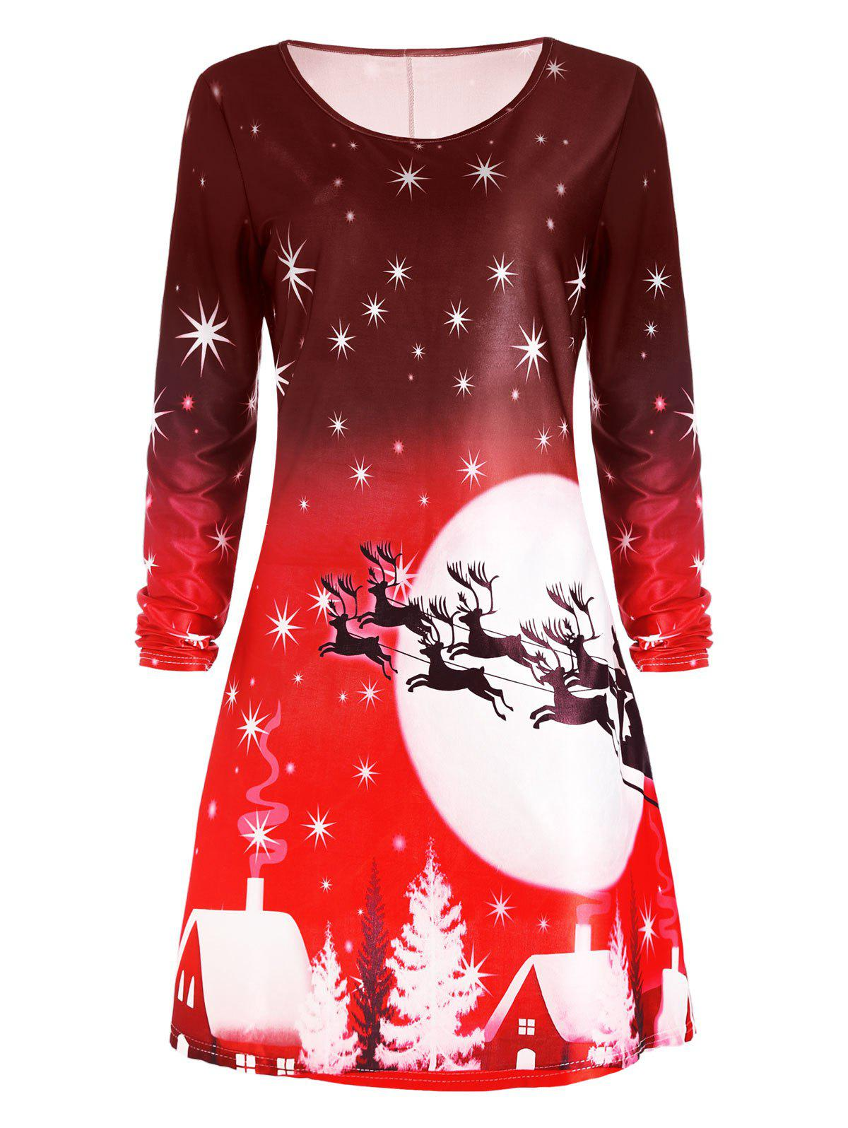 Christmas Deer Long Sleeve Dress - RED S