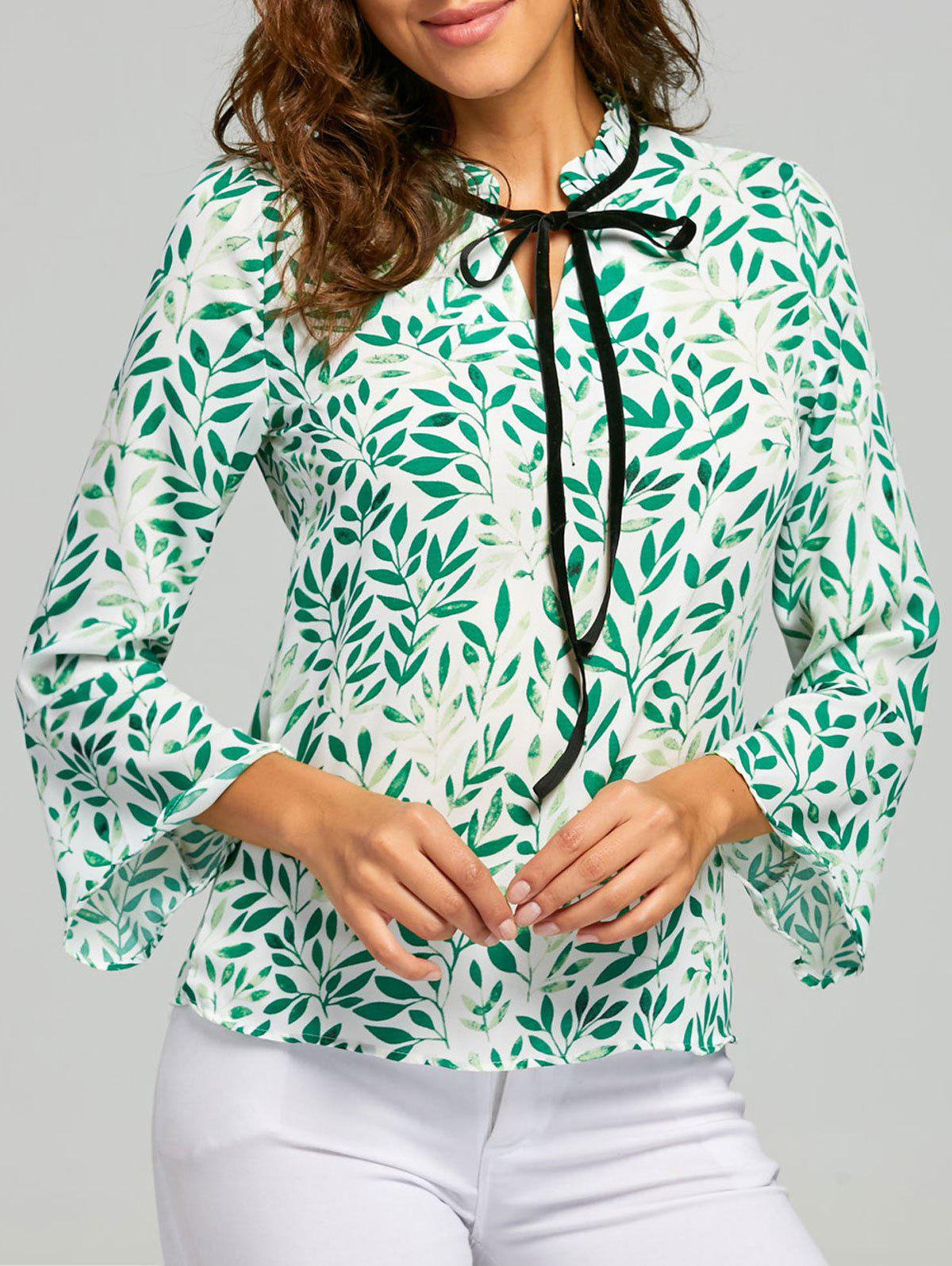 Leaf Print Self Tie Blouse - GREEN 2XL