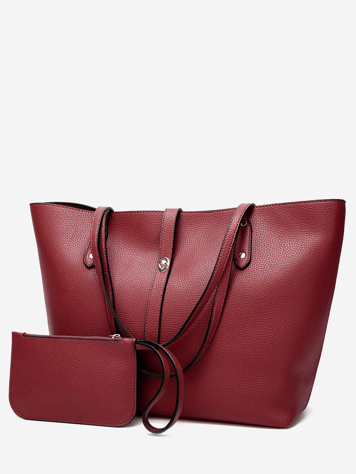2 Pieces Rivets Shoulder Bag Set - WINE RED