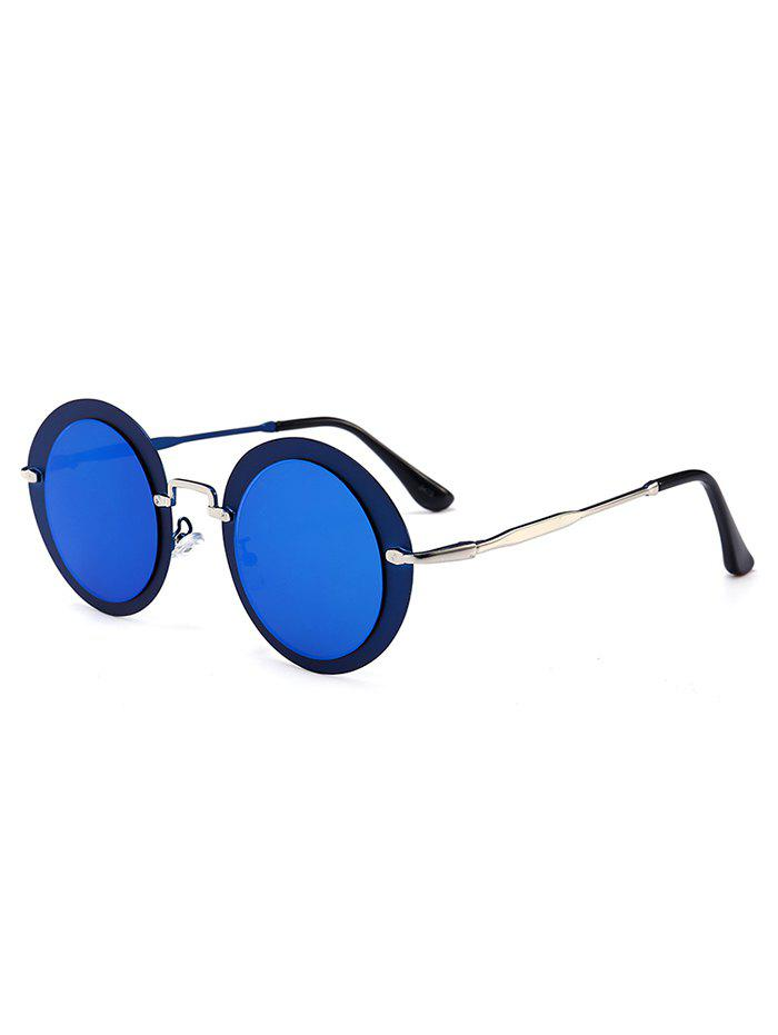 Vintage Metal Full Frame Round Sunglasses - SEA BLUE