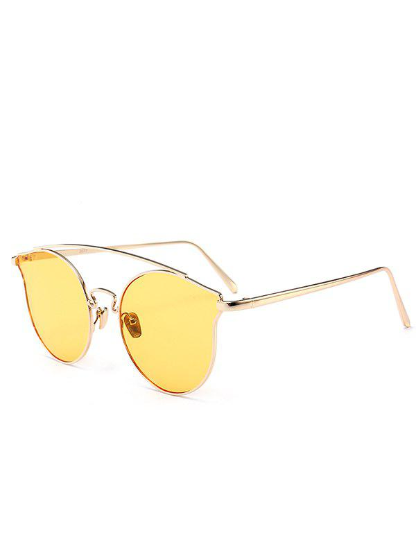 Outdoor Metal Frame Butterfly Sunglasses - LIGHT YELLOW