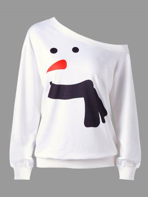 Christmas Plus Size Snowman Skew Collar Sweatshirt - WHITE 2XL