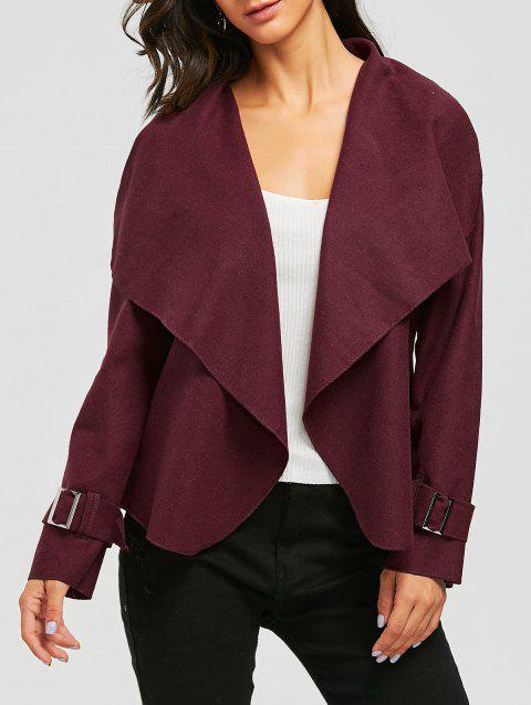 Draped Wool Blend Open Front Jacket - WINE RED L