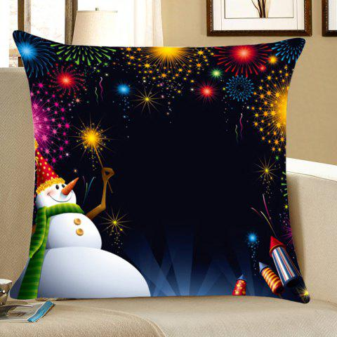 Home Decor Snowman Fireworks Pattern Throw Pillow Case - BLACK W18 INCH * L18 INCH