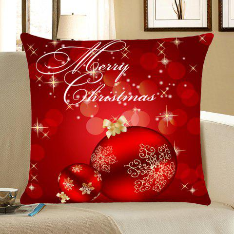 Home Decorative Christmas Balls Print Throw Pillow Case - DEEP RED W18 INCH * L18 INCH