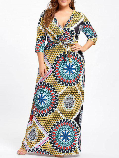 Plus Size Surplice Belted Floral Dress - YELLOW 5XL