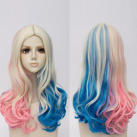 Long Middle Part Curly Colormix Synthetic Suicide Squad Harley Quinn Cosplay Wig - COLORMIX