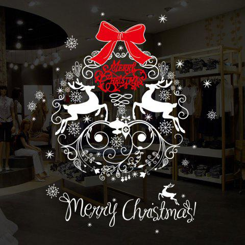 Christmas Wreath Pattern Wall Art Stickers - COLORMIX 50*70CM