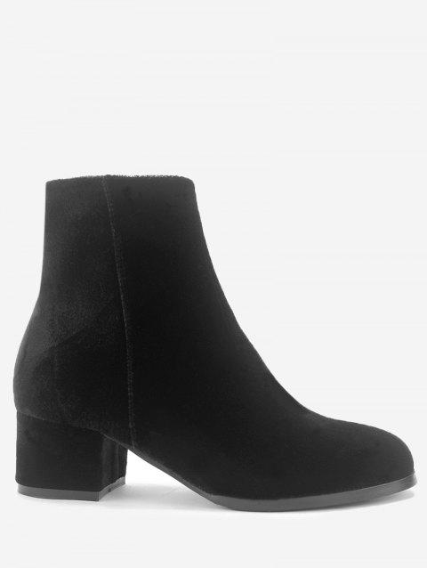 Almond Toe Side Zip Velvet Ankle Boots - BLACK 38