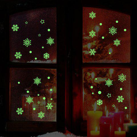 Christmas Snowflake Pattern Glow In The Dark Wall Stickers - NEON GREEN 21*24.5CM