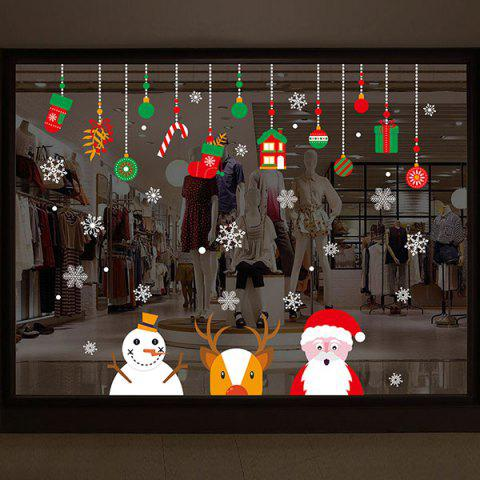 Christmas Santa Deer Pattern Wall Art Stickers - COLORMIX 60*90CM