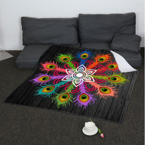 Coral Fleece Peacock Feathers Pattern Blanket - COLORFUL W59 INCH * L79 INCH
