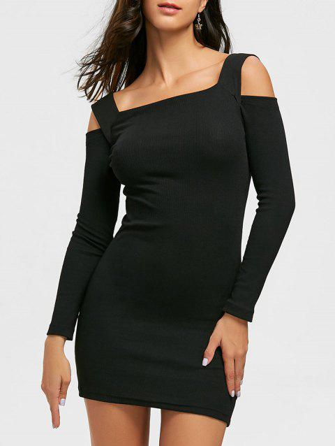 Cold Shoulder Bodycon Mini Sweater Dress - BLACK XL