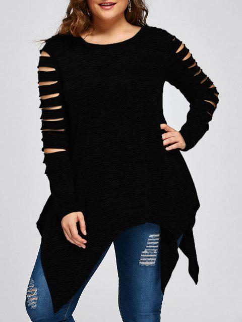 Plus Size Marled Ripped Sleeve Handkerchief Top - BLACK 3XL