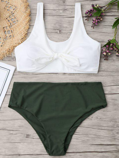 Tied Plus Size Two Tone Bikini - ARMY GREEN XL