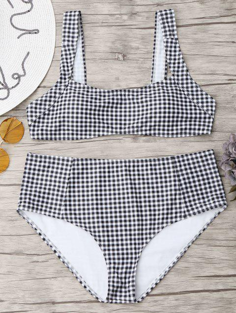 Checked Square Neck Plus Size Bikini Set - WHITE/BLACK 3XL
