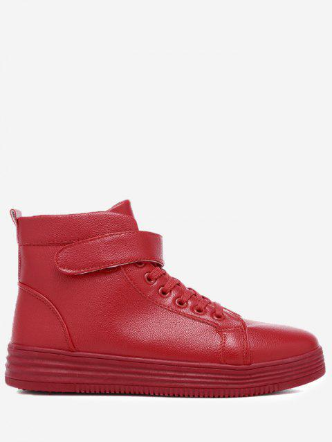High Top Faux Leather Skate Shoes - RED 44