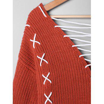 Plus Size Lace Up Plunging Sweater - RED ORANGE 3XL